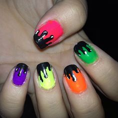 Neon Paint Drip Nails - Cult Cosmetics Magazine