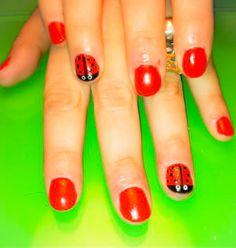 nails, red, short nails, ladybag