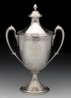 Silver two-handled cup given to Arthur Forbes, with vase-shaped body engraved with the Royal Arms of Scotland and 'From a Sincere Friend 3rd June 1800', by W. and P. Cunningham, Edinburgh, 1799