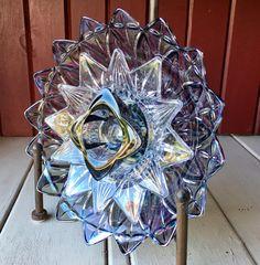 Includes SQUARE GLASS PIECE IN CENTER: Repurposed Glass Flower Sun Catcher Glass Garden Art