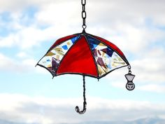 「雨ごい傘 あした雨になぁ~れ(^_^;)」ステンドグラスのサンキャッチャー
