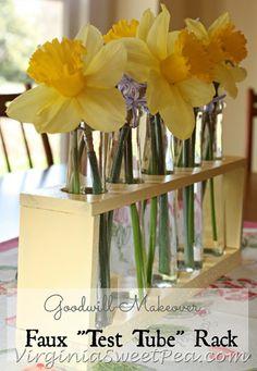 Flower vases on pinterest test tubes mason jars and for Test tube flower vase rack