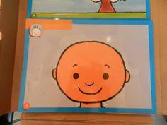Geplastificeerde hoofden zonder kapsel. De leerlingen kunnen dat erop tekenen met stift en het dan weer uitvegen
