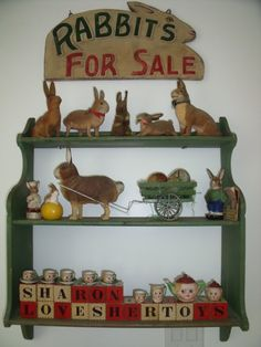 "A Easter Candy Container Collection ...plus a ""Rabbits For Sale"" sign."