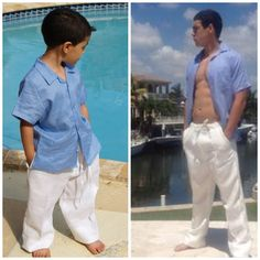 Boys linen drawstring pants.. Matching father and son drawstring pants.. Beach wedding linen pants.
