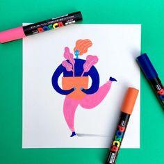 Posca Illustration, Original Hand Drawing, Handmade Print, Handmade Drawing, Posca Pens: Piper (Ready to Ship) Japanese Illustration, Illustration Sketches, Art Sketches, Pen Art, Marker Art, Paint Pens, Paint Markers, Posca Art, Graphic Design Posters