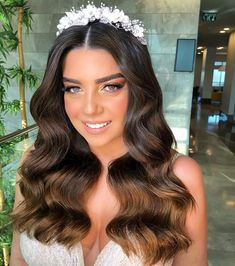 Wedding Hair Down, Wedding Hair Flowers, Wedding Hair And Makeup, Bridal Hair, Hair Makeup, Bride Flowers, Tiara Hairstyles, Baddie Hairstyles, Down Hairstyles