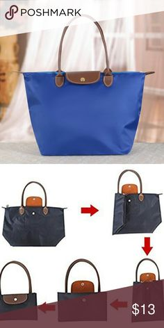 """Nylon Tote Bag Royal blue Features: reusable, folding, waterproof, Shopping Bag Made of high quality nylon and pu leather,well sewn craftsmanship..   The interior features one main pocket,one slip pocket and one opened pocket.  Large Size: Length: 20.5""""; Height: 12.6""""; Width: 8""""; Handle Drop: 8""""; Medium Size: Length: 17.3""""; Height: 11.8""""; Width: 7""""; Handle Drop: 8""""; Mini Size: Length: 11.8""""; Height: 9""""; Width: 4.7""""; Handle Drop: 4"""" None Bags Totes"""