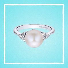 14k White Gold Cultured Pearl & Diamond Ring - Gabriel & Co. - LR50386W45PL