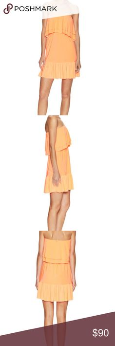 NWT✨ T Bags Gathered Overlay Dress in Coral NWT✨ T Bags Gathered Overlay Dress in Coral.  See photos for product description.  All offers are considered and I offer a bundle discount if you purchase more than one item 😘 30% off bundle 2+ items today only if you are interested ❤️ summer strapless dress or beach cover up ASOS Dresses Strapless