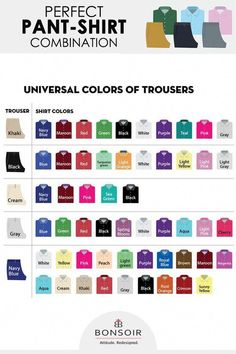 Perfect pant-shirt combination Universal colors of trousers Mens Style Guide, Men Style Tips, Style Men, Wardrobe Color Guide, Mens Wardrobe Essentials, Color Combinations For Clothes, Colour Combinations Fashion, Herren Outfit, Teal And Pink