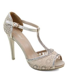Look at this #zulilyfind! Champagne Rhinestone Lace T-Strap Sandal by Selina #zulilyfinds
