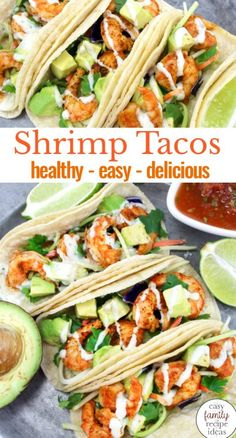 I LOVE SHRIMP TACOS! Shrimp tacos, fish tacos, chicken tacos, and every other taco recipe, is a favorite for this family. In fact, I am sure after trying this Easy and Healthy Shrimp Tacos Recipe you'll be in love with them too. Shrimp Tacos with Cabbage Slaw, SHRIMP TACOS with Cilantro Lime Sauce, Easy Shrimp Tacos are The Best! #tacos #shrimprecipes #easyrecipes #tacotuesday