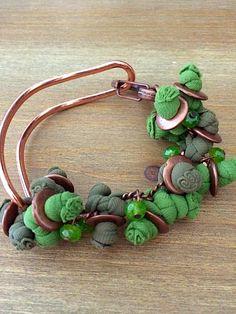 #fattoamano #bracciale #pezziunici #verde #pietredure
