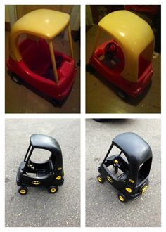 little tikes cozy coupe converted into a batmobile using spray paint and stickers easy and