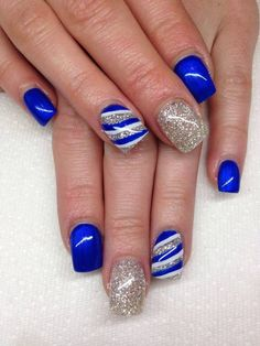 Silver & Blue gel nails