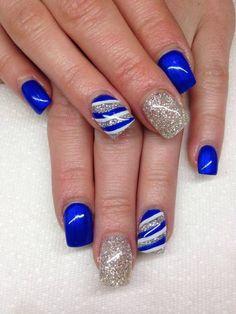 Silver & Blue gel nails