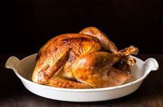 Thanksgiving is my favorite holiday -- I slow-bake an 18-20 pound turkey at 325°F in my huge granite ware pan. The turkey is cooked with the steam that builds up in the pan, and then basted and finished on high heat to crisp and brown the skin. The meat is tender and juicy and very tasty. I don't load the compound butter with lots of garlic and herbs, just enough to flavor the turkey very delicately. The picture is of a chicken made following the recipe.