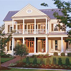 Southern homes are famous for their relaxing and beautiful front porches. Find some of our best house plans with porches here. Porch House Plans, Best House Plans, Southern Living House Plans, Country House Plans, Mobile Home Porch, Mobile Homes, Southern Homes, Southern Porches, Country Porches