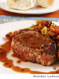 Steak au Poivre Recipe _ A classic preparation for sauteed steak. Julia Child & Jacques Pépin update the steak by using a mixture of black, green, white & Jamaican peppercorns. Steak Au Poivre, Meat Recipes, Cooking Recipes, French Food Recipes, Sauce Recipes, Good Food, Yummy Food, French Dishes, Steaks