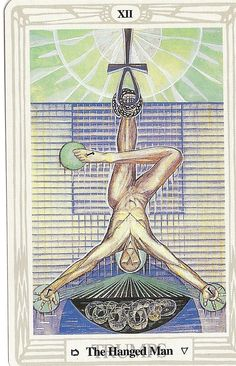 'The Hanged Man' tarot card from the Thoth deck by Aleister Crowley.