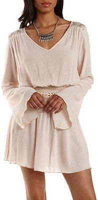 Lace-Trim Bell Sleeve Dress