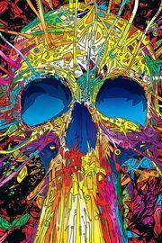 FREEIOS7 | psychedelic-skull - parallax HD iPhone iPad wallpaper