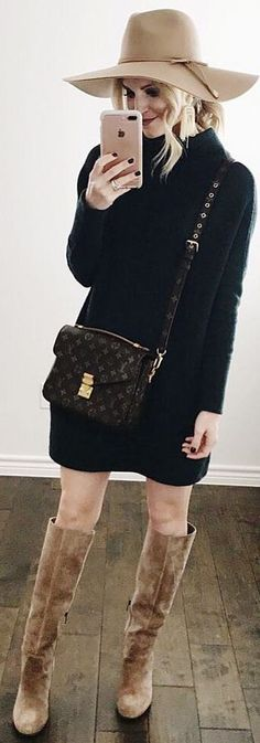 #winter #outfits black sweaterdress, brown boots, beige hat
