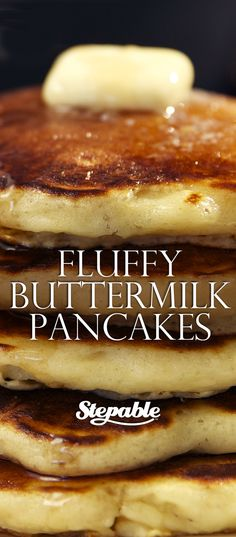 The absolute tastiest, fluffiest buttermilk pancakes recipe EVER with a simple but important tip to make sure they come out perfect every time. Super easy to make and a recipe we've been using for years @stepable #recipes #breakfast