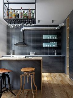 Amazing modern industrial apartment by Int 2 Architects // Increíble departamento vintage industrial moderno // Casa Haus Industrial Apartment, Apartment Kitchen, Apartment Interior, Home Decor Kitchen, Kitchen Furniture, Bedroom Apartment, Condo Kitchen, Furniture Ideas, Furniture Dolly