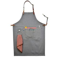 Cheap denim apron, Buy Quality apron chef uniform directly from China apron chef Suppliers: Luxury Gray Denim Apron Real Leather Strap Barber Florist Bartender Apron Chef Uniform Tattoo Shop Carpenter Salon Workwear Leather Apron, Cow Leather, Real Leather, Tool Apron, Bib Apron, Barista, Barber Apron, Work Aprons, Custom Aprons