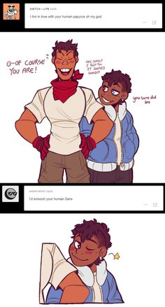Some more human skelebros by Nightween on DeviantArt<<< Isn't this done by toddnet on tumblr, though?