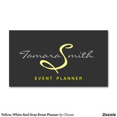 Yellow, White And Gray Event Planner Business Card Templates - Custom Business Card Design For Event Planning Make your own business card with this great design. All you need is to add your info to this template.  Professional Business Cards would be ideal for a Event Planner, Party Planner, Clothes Shop Owner, Event Manager, Wedding Planner, Makeup Artist, Wedding Photographer and many other professionals.