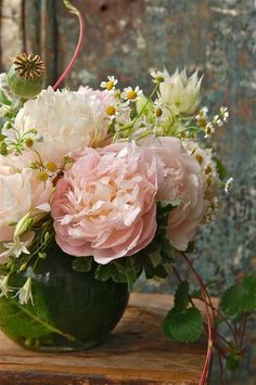 beautiful peonies and daisies