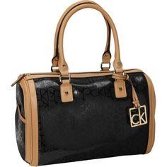Calvin Klein Hudson Textured Embossed Satchel (Black) bag handbag tote