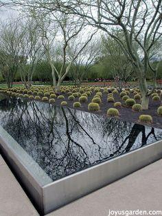 Sunnylands Center & Gardens is a work of modern garden art near Palm Springs. Repetition & over plants make it unique. Balcony Design, Garden Design, Urban Landscape, Landscape Design, Palm Springs, Small Fountains, Hampton Garden, Contemporary Garden, Garden Modern