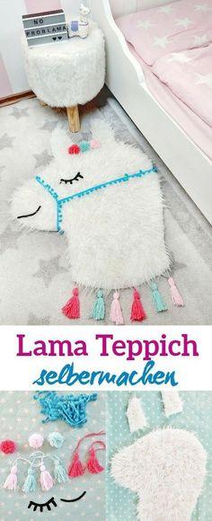 e52825278fc6d4 Eine tolle DIY Idee ist dieser niedliche Lama Teppich. Als Deko im  Kinderzimmer sieht er