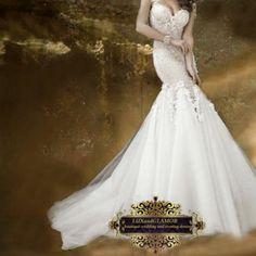 Wedding dress,lace beaded organza mermaid open back wedding dress, bridal dress
