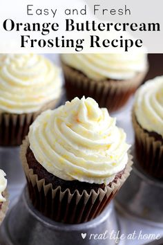 This light and fresh orange buttercream frosting recipe with orange zest added is sure to please a crowd. With my method for making the frosting airy and fluffy, this orange icing perfectly pairs with cakes and cupcakes and is easy to make! via @RealLifeAtHome