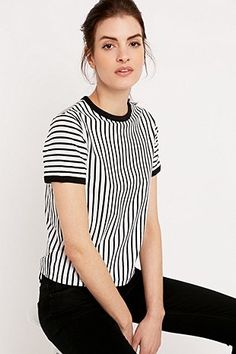 Sparkle & Fade Vertical Stripe Ringer Tee in Black and White