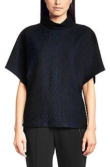 Hugo Boss Top 'Cosme' made from cotton blend in a lace design, Dark Blue