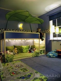 Ooo! Get the leaf canopy instead of the big blue tent! The Best Bunk Beds For Toddlers.