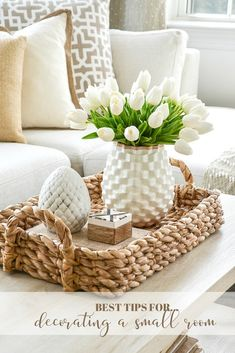 Best tips and creative ideas for decorating a small room. Lots of idea and images to help you beautifully decorate a room in your home. Coffee Table Styling, Decorating Coffee Tables, Home Decorating, Neutral Decorating, Coffe Table, Tray Decor, Decoration Table, Decorations For Home, Table Decor Living Room