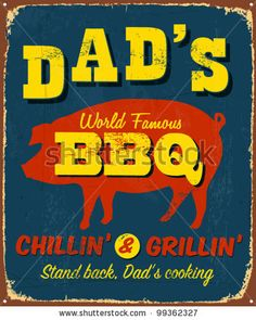 stock vector : Vintage metal sign - Dad's BBQ - Vector EPS10. Grunge effects can be easily removed.