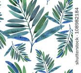 stock photo : Seamless pattern with tropical leaves