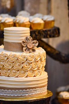 Stunning cake at a rustic wedding party! See more party ideas at CatchMyParty.com!