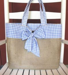 Pretty Burlap Tote Bag  fully lined with Blue by FashionedForYou, $37.50