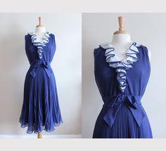 1960s Dress / Vintage Miss Elliette Navy Ruffle by tobedetermined