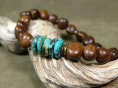 Mens Bracelet Wood Bracelet Turquoise by StoneWearDesigns.etsy.com