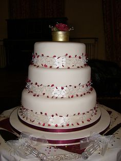 Red Ruby Beaded Wedding Cake  ~ all edible